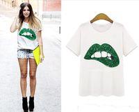 Wholesale Hot selling new Women T shirt Plus Size XL XLSummer Style Printed Lip Sequin Short Sleeve Cotton O Neck Casual Women T Shirt