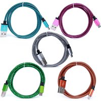 aluminum wire outlets - Aluminum Nylon USB Charger Cable For Iphone5 Sync Data Chargring Cord Wire Mix Colors Pce USB Cable DHL Free Factory outlets