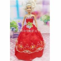 Wholesale mix color Handmade Toy inch kids baby doll Clothes for girls Sweet red embroidery wedding dress best gift for my baby