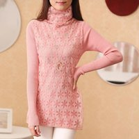 posture collar - Women s autumn and winter long sleeved knit shirt and long sections thick needle Cong head posture high collar sweater coat thick loose