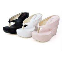 Wholesale Plus Size Hot High Heels Women Flip Flops Summer Sandals Platform Wedges Slippers Girl s Fashion Beach Shoes