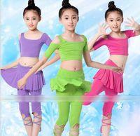 Wholesale New Latin Dance Yoga Training Short Sleeve Ruffle Lace Up Dancers Children Dancing Clothing Tshirt Skirt Pants Kids Tee Shirts Pantskirt