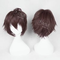 Cheap cosplay wig new COS wig anime game characters dark brown short hair and PL-FQ0047 (8) CJ