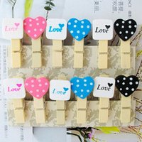 Wholesale 12Pcs Mini Heart Love Wooden Clothespin Photo Paper Clothes Peg Craft Clips Party Decor