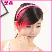 Wholesale Factory European and American popular color dyeing tricolor color oblique fringe bangs flamboyant fashion color streaked bangs Hot