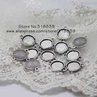 Wholesale Vintage Metal Round Cabochon Settings Jewelry Connectors Antique Silver Jewelry Blanks Fit Diy Jewelry Making mm A7966