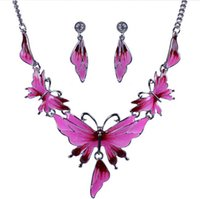 aqua fine - European And American Fashion Exaggerated Alloy Drop Butterfly Short Chain Fine Jewelry Wedding Jewelry Sets For Brides