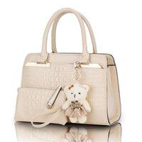 bear artwork - Fashion PU Patent Leather Women Shoulder Bags Elegant Alligator Pattern Women Messenger Bags bolsos bags set w Bear Toy