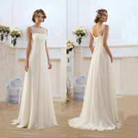 Wholesale Lace Chiffon Empire Wedding Dresses Sheer Neck Capped Sleeve A Line Long Chiffon Wedding Dresses Summer Beach Bridal Gowns Hot Selling