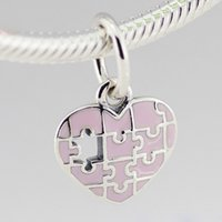 enamel charms - 2015 summer collection sterling silver jigsaw heart charms pendants with pink enamel for Pandora handmade bracelets and necklaces CE674