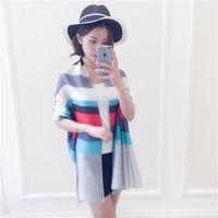 Wholesale Spring summer suntan emulation silk shawl scarves Colored stripes printed scarves