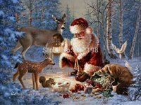 Wholesale Diy diamond painting kits square drill full diamond cross stitch pasted painting old Father Christmas