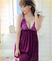 batik dress couple - w1025 Sexy Lingerie Ice silk sexy couples nightgown purple lace dress g string set sleepwear