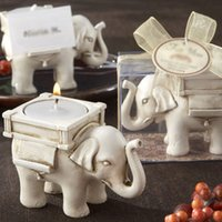 Wholesale 1PCS Fashionable Style Resin Ivory Lucky Elephant Tea Light Candle Holder Wedding Party Home Decoration Gift Durable