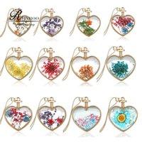 bottle necklace - fashion gold color multicolor dried flower botanical pendant heart shape glass wishing bottle pendant necklace glass locket necklace
