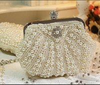 Wholesale In Stock No Risking Bridal Hand Bags with Pearls Wedding Favor Handbags Bridal Garment Handbags