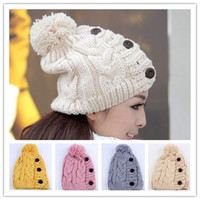 Cheap Wholesale - 2015 Winter Cap Women Warm Woolen Knitted Hat Gilrs Jonadab Button Twisted Beanie Cap Woman Fur Cap Accessories Free Ship DHL