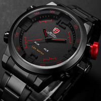 alarm wrist watches - SHARK Analog Digital LED Display Stainless Full Steel Black Red Dial Date Day Alarm Mens Sports Outdoor Quartz Wrist Military Watch SH105