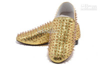 Wholesale New Men Low Top Flats Gold Glitter and Spike loafers shoes Top quality designer men s dress shoes