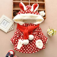 baby winter - Winter Children s Clothing Baby girls thick Outerwear Coats Parkas dot rabbit coat Hoodies Jackets with Scarf