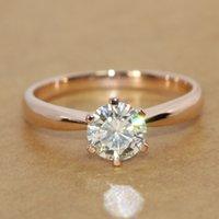 Wholesale FG Real Rose Gold CHARLES COLVARD Brand ct mm Moissanite Flat Band Engagement Ring Solitare Test Positve