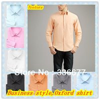 oxford shirts - Mens Spring Autumn Elegant Long Sleeve Business Work Oxford Shirt With One Pocket QR