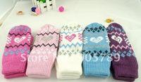 Wholesale 12pairs Children s Knitted Mitten Adlut Winter Gloves Girl Nice Gloves