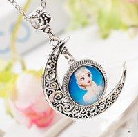 Wholesale House kids New Hot Frozen Elsa Elsa princess necklace pendant necklace Moon Child Moonlight Gemstone Necklaces DHL