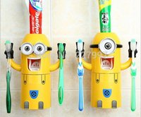 Wholesale 100pcs New Cute Despicable Me Minions Design Set Cartoon Toothbrush Holder Automatic Toothpaste Dispenser with Brush Cup