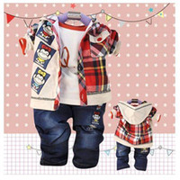 Cheap 2014 Spring New Cotton Three-piece Suit Western Style Children Clothing 0158