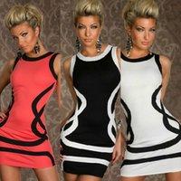 Bodycon Dresses plus size clubwear - Plus Size Dresses Women Sexy Dress Clubwear With Black Pattern Black and White Colors CB9431