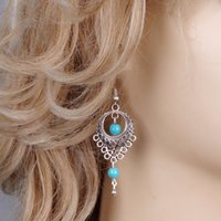 antique style chandeliers - Dangle Chandelier Earrings Women Fashion Vintage Antique Silver Plated Hollow Out Ethnic Turquoise Water Drop Style Earrings Jewelry ER626