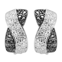 beautiful class - Classic Q Black and White Cubic Zirconia sporty sterling Silver Beautiful Earrings First class products Explosion models