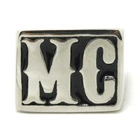 mens rings - Mens Silver L Stainless Steel MC Biker Ring Mens Top Quality Biker Mens Ring