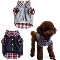 Wholesale New Arrivals Dog Polo Apparel Sweater Pet Clothes Puppy Warm Coat T Shirt Cotton Blend Grid DX245