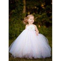 Cheap children dresses 2T-8Y White Mix Ivory Floor-Length Flower Girl Tutu Dress For Wedding Birthday Party Photograps girls dresses