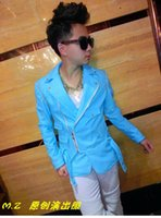 Wholesale Male singer clubs in Europe and the paragraphs shows milk removable sleeves blue suit leather costumes S xl