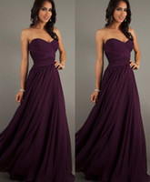 Cheap Deep Grape Bridesmaid Dresses Sweetheart Neckline Sleeveless Draped Chiffon A Line Prom Dresses Formal Evening Gowns Bridal Party Gowns LA