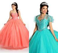 aqua dress shirt - 2015 Quinceanera Dresses Romantic Rhinestone Sweetheart Tulle Coral Aqua Bead Long Cheap Tulle Sweet Girl Evening prom Formal Gowns Dress