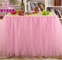Wholesale Custom Made Tulle Table Skirt Tutu Table Decoration for Weddings Imitation Pearls Birthdays Baby Bridal Showers Parties Tutu Party Decor