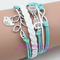 Cheap 5PCS lot Infinity,Owls Lucky Branch Leaf and Lovely Bird Charm Bracelet in Silver -Mint Green Wax Cords and Leather Braid BS0024