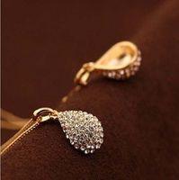 acrylic teardrops - Ladies Fashion Jewelry Crystal Teardrop Necklace Shiny Pendant Long Chain pieces