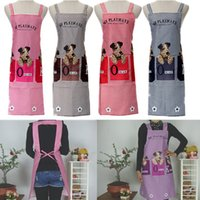 Wholesale Unisex Cute Dogs Checked Pattern Home Kitchen Bib Apron With Patch Pockets Women Kitchen Baking Apron
