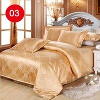 Cheap Luxury Jacquard Fabric Silk Cotton Bedding Set Queen King Size Satin Comforter Quilt Cover Bedclothes Home Textile Comforter Set