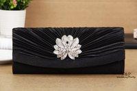 Wholesale Dazzling Satin Pleated Crystal Evening Party Clutch Bag Bridal Handbag Purse