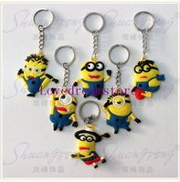 Wholesale 100 popular Despicable me key chain decoration silicone minions keychains for men and women key charms