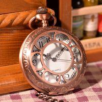 arab necklace - Hot Antique Arab Number Pocket Watch Vine Alloy Steampunk Copper Necklace Pendant Chain relogio de bolso Gift Quartz Watch