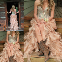 Wholesale 2015 Quinceanera Dresses High low Glamorous Diamonds Sequins Bodice Sweetheart Sleeveless Zipper Back Organza Debutante Dresses Sweet