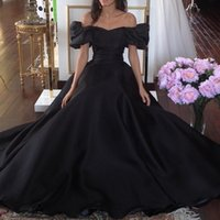 dubai - Vintage s Black Ball Gown Evening Dresses with Sleeves Off the Shoulder Backless Dubai Arabic Formal Prom Dresses vestidos de festa