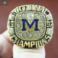 Wholesale 1997 Michigan Wolverines football national championship ring Enamel Crystal Rhinestone gold Pleated Ring Men Jewelry